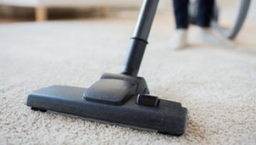 A vacuum cleaner head being passed over a lounge carpet.