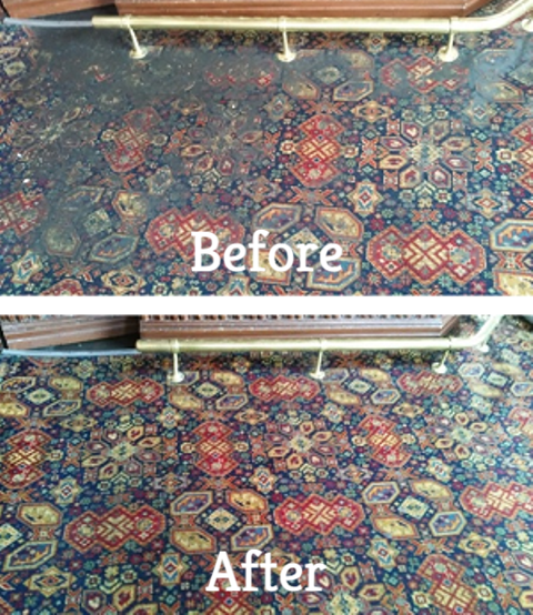 A heavily soiled pub carpet before and after professional carpet cleaning.